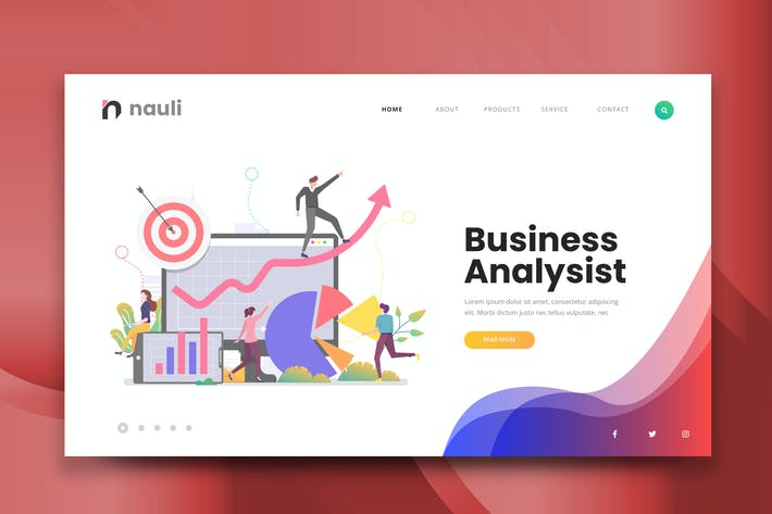 Thumbnail for Business Analysist Web PSD and AI Vector Template