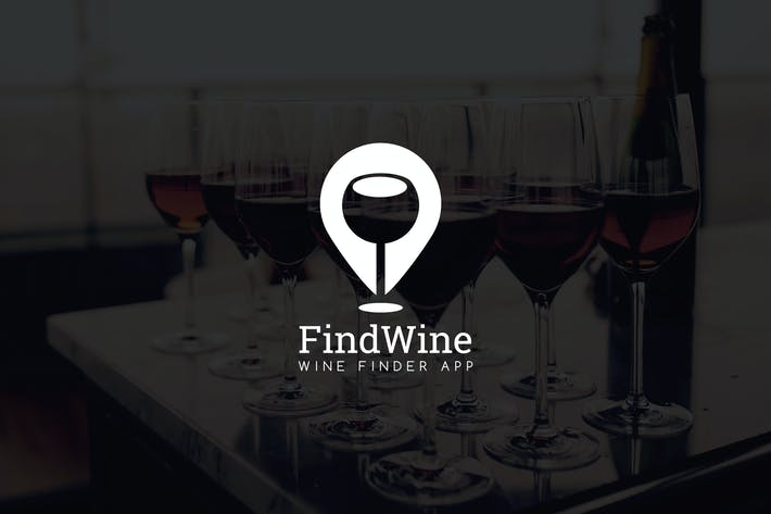 Thumbnail for FindWine : Negative Space Location Pin Logo