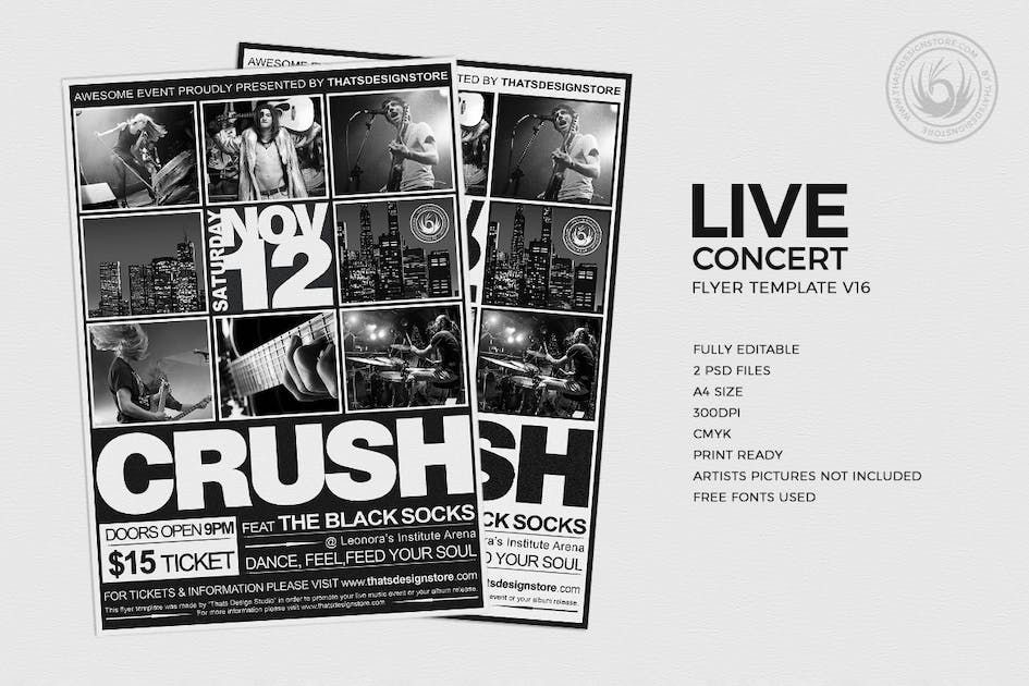 Live Concert Flyer Template V16 Von Lou606 Auf Envato Elements