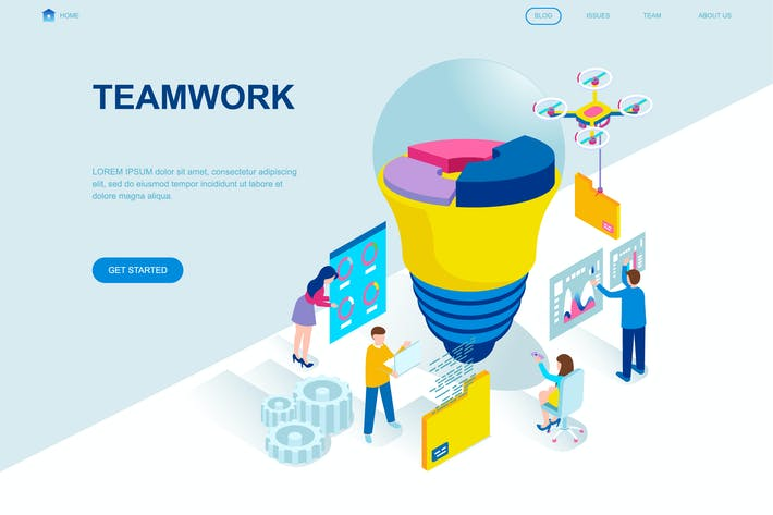 Cover Image For Teamwork Isometric Landing Page Template