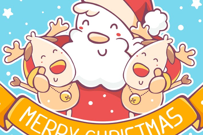 Thumbnail for 4 cards with santa claus and reindeers