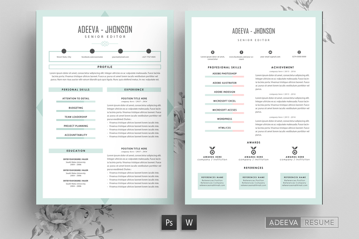 Cover Image For Professional Resume Template Jhonson