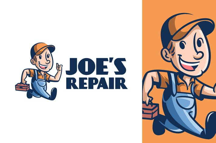 Thumbnail for Retro Vintage Handyman or Repairman Mascot Logo
