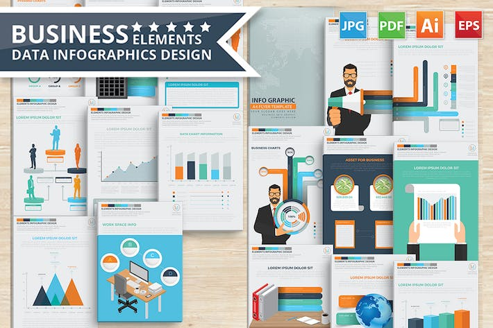 Thumbnail for Business Infographics 17 Pages Design