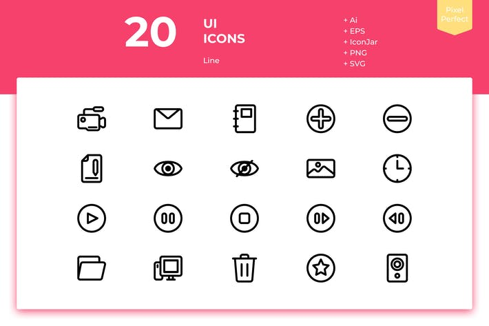 Thumbnail for 20 UI Icons (Line)