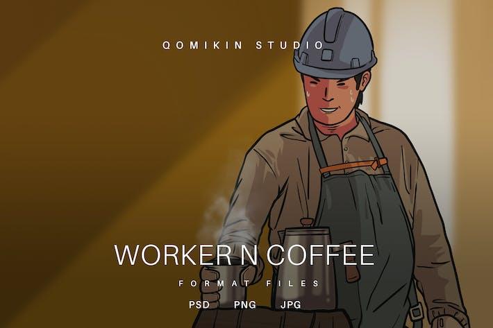 Иллюстрация рабочего и кофе