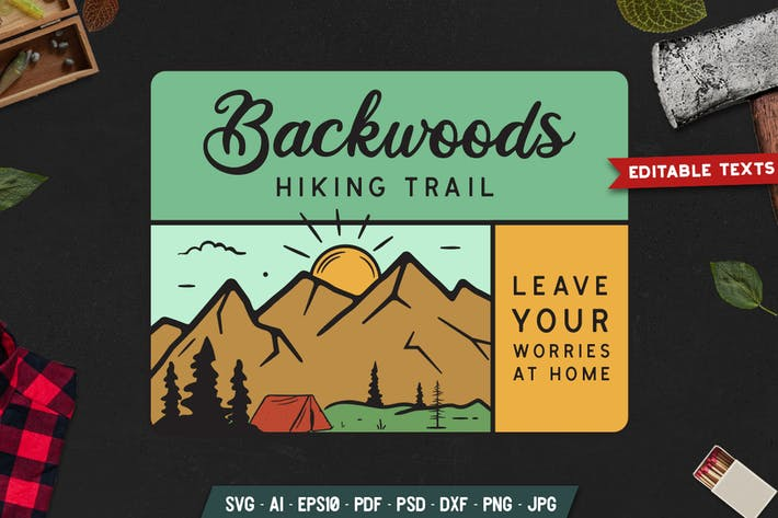 Thumbnail for Hiking Trail Badge Vector Camp Retro Graphic Logo
