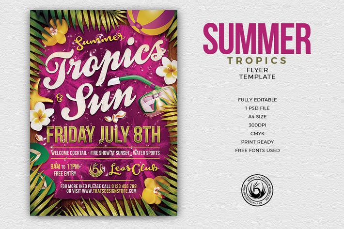 Thumbnail for Summer Tropics Flyer Template