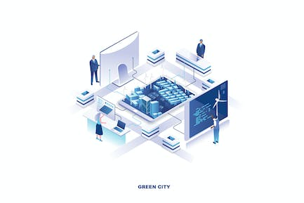 Green City Isometric Banner Flat Concept
