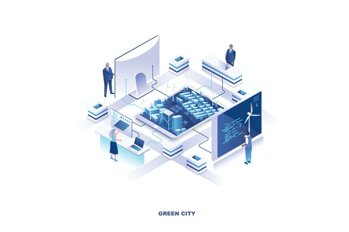 Thumbnail for Green City Isometric Banner Flat Concept