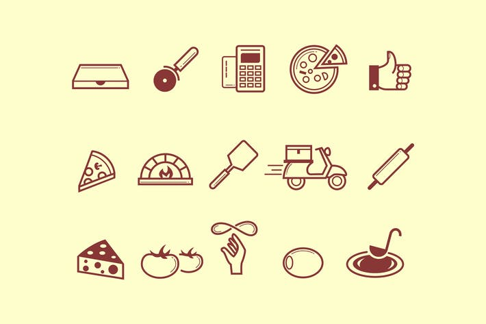 Thumbnail for 15 Pizza Icons
