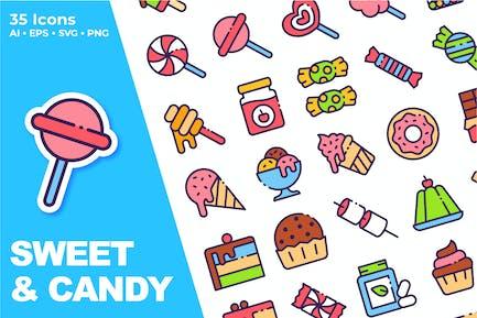 Süß Und Süßigkeiten Icon Set
