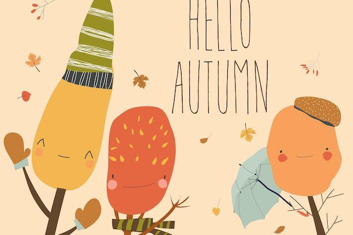 Thumbnail for Cartoon colorful autumn trees saying hello. Vector