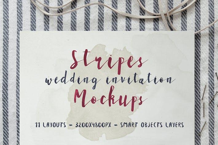 Thumbnail for Stripes Wedding Invitation Mockup