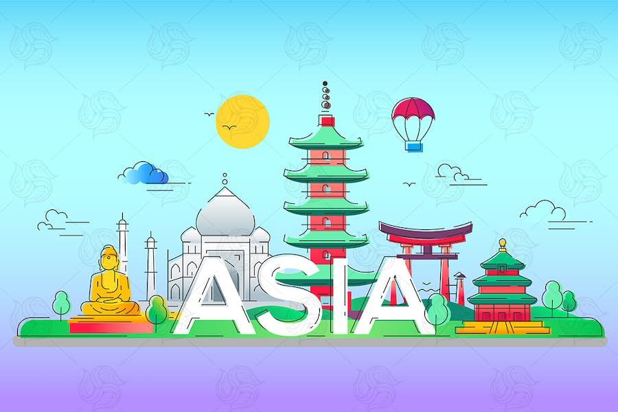 Asia - vector line travel illustration