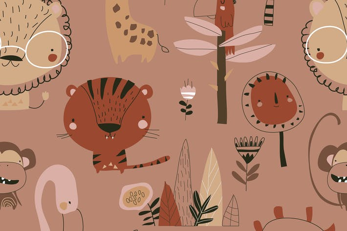 Vector Seamless pattern with cartoon wild animals