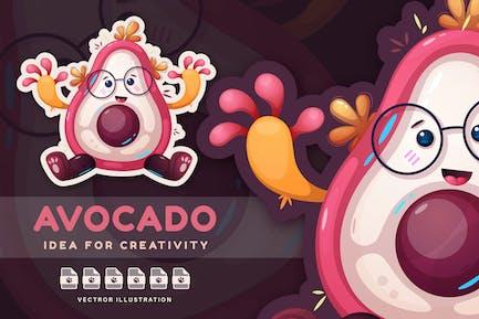 Cute Avocado - Cartoon Character, Cute Sticker