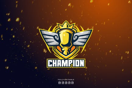 Trophy Champion Victory Logo Template