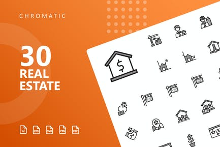 Real Estate Chromatic Icons