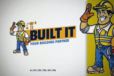 construction worker mascot for logo