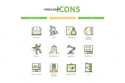 Contemporary History - Line Design Style Icons Set