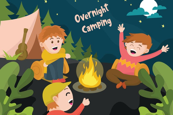 Thumbnail for Overnight Camping - Vector Illustration