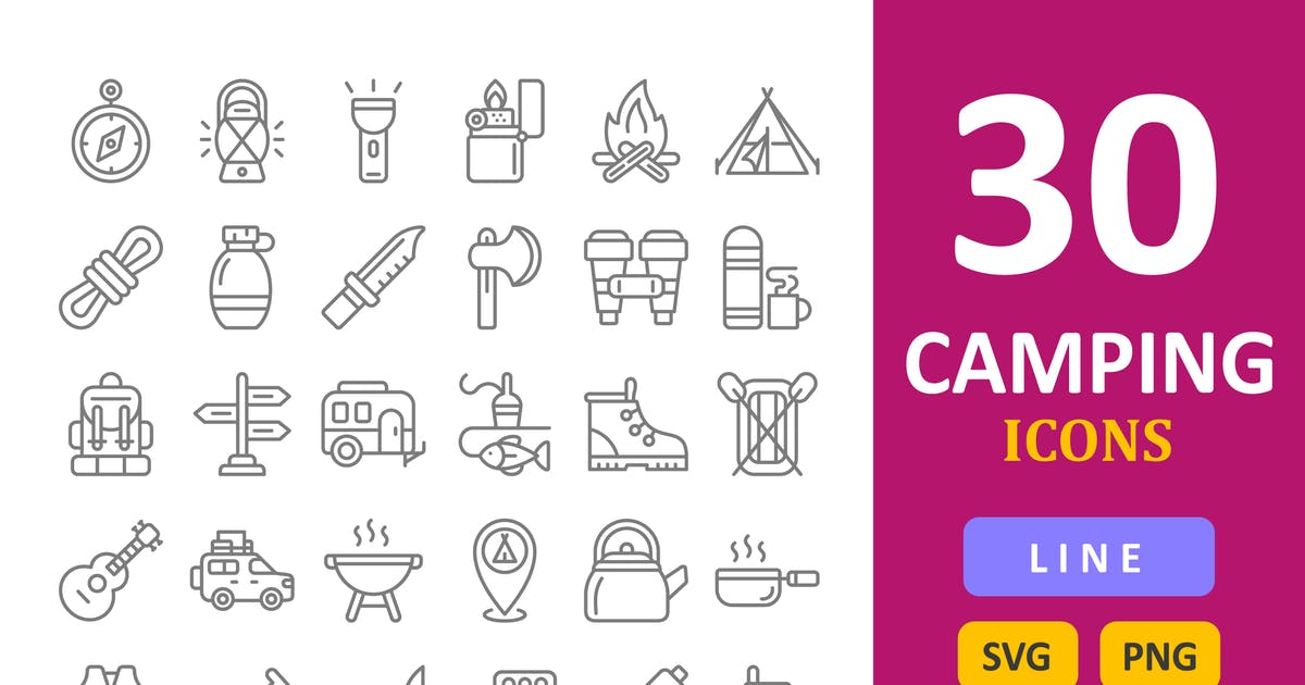 Download 30 Camping Icons - Line by vectorizone