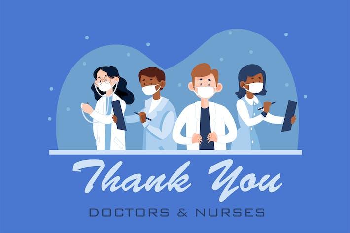 Спасибо врачам и медсестрам иллюстрация концепция