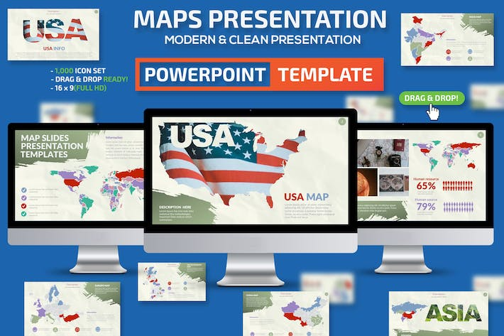 Thumbnail for Maps Powerpoint Template