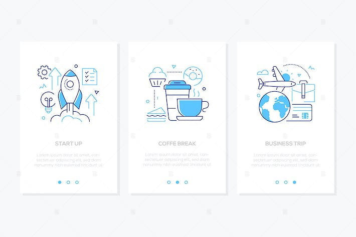 Thumbnail for Business and finance - set of line design banners