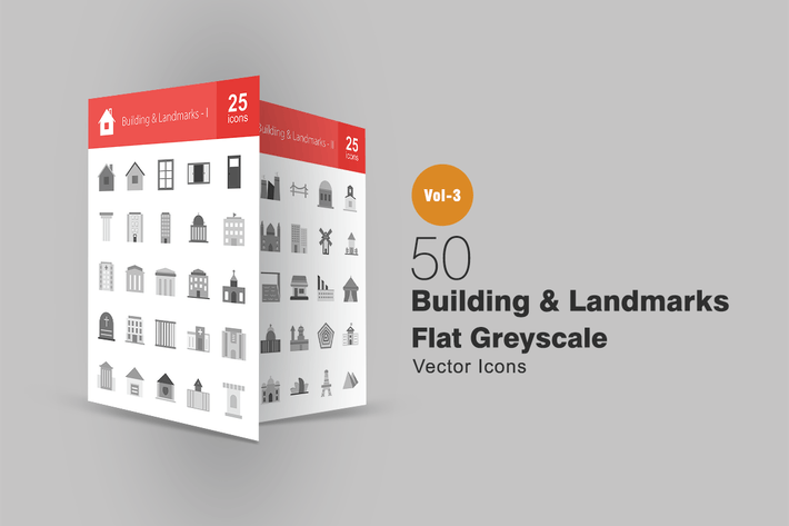 Thumbnail for 50 Buildings & Landmarks Greyscale Icons