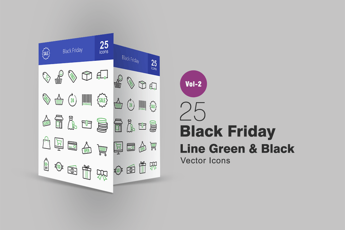 Thumbnail for 25 Black Friday Line Green & Black Icons