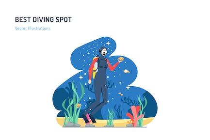 Best Diving Spot - Travel Illustration