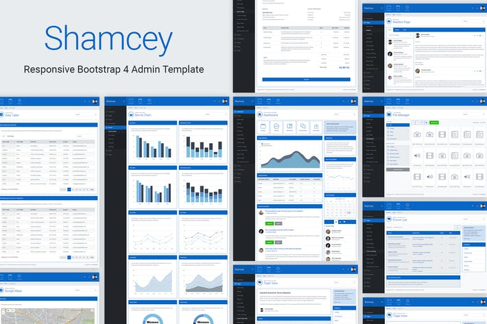 Thumbnail for Shamcey Metro Style Bootstrap 4 Admin Template