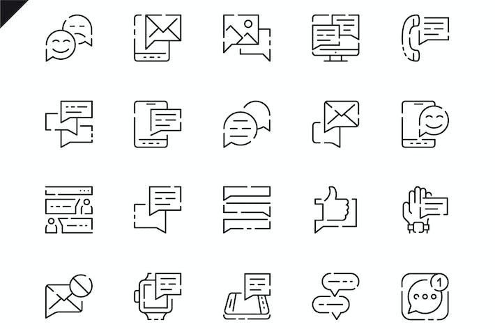 Thumbnail for Simple Set Message Line Icons