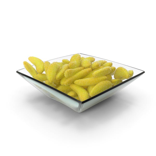 Square Bowl with Gummy Bananas