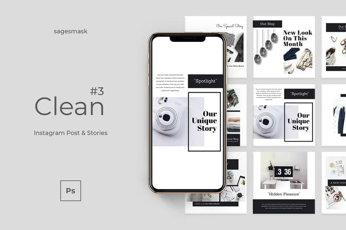 Thumbnail for Clean 3 Instagram Post & Stories