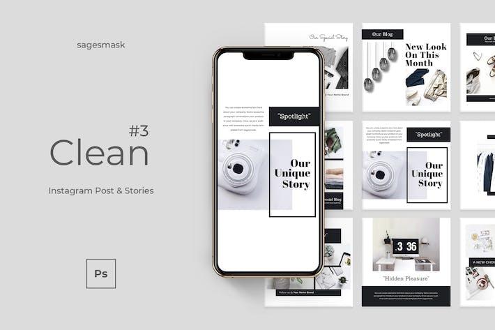 Clean 3 Instagram Post & Stories