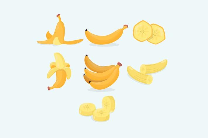 Thumbnail for Verschiedene Bananenfrüchte Cartoon isolierte Sammlung