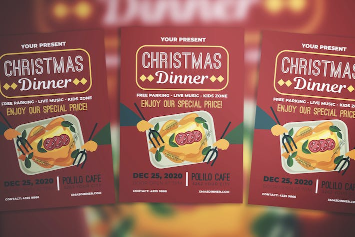 christmas dinner flyer by miaodrawing on envato elements