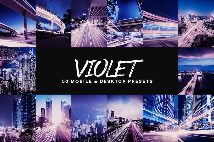 Thumbnail for 50 Violet Lightroom Presets and LUTs