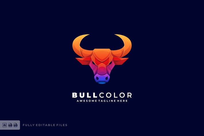 Thumbnail for Bull Head Color Gradient Logo template