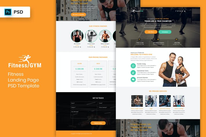Thumbnail for Fitness - Landing Page PSD Template-02