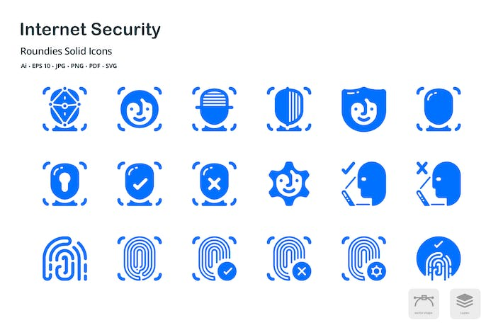 Thumbnail for Internet Security Roundies Solid Glyph Icons