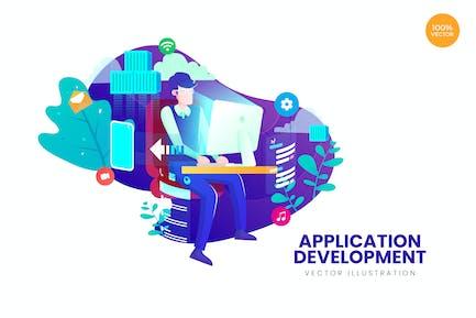 Ilustración vectorial de desarrollo de aplicaciones