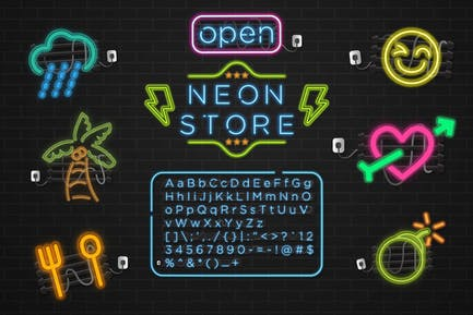 Neon Store Graphic Type