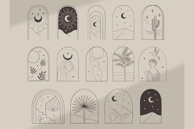 Bohemian Modern Arch Design Objects. Frame, Border