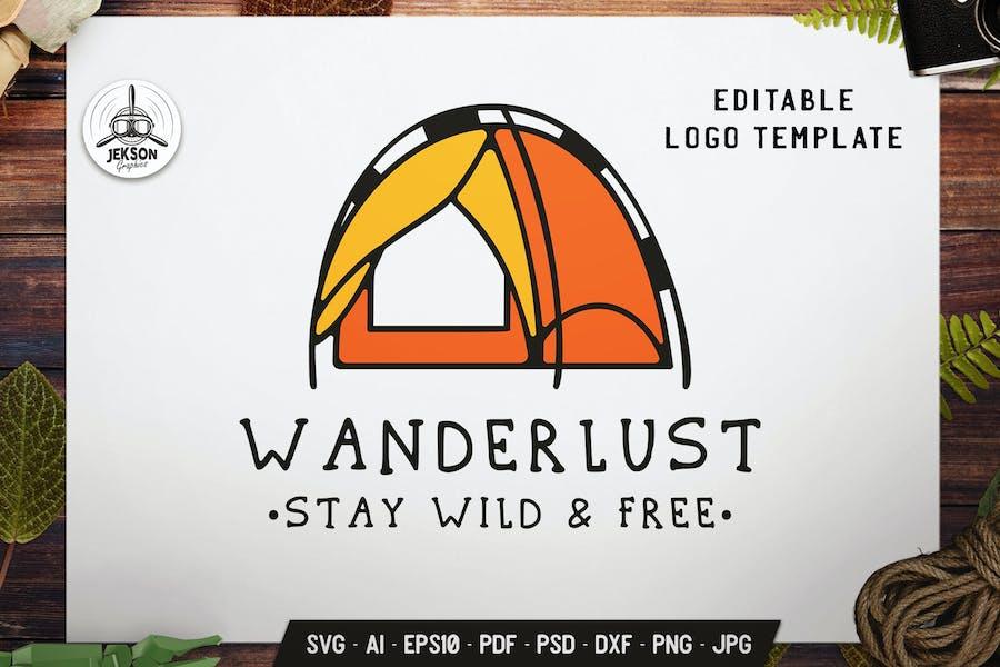 Camping Tent Logo Template. Wanderlust Emblem