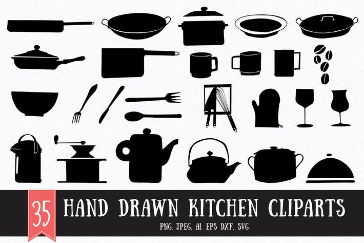 Thumbnail for 30+ Hand Drawn Kitchen Cliparts