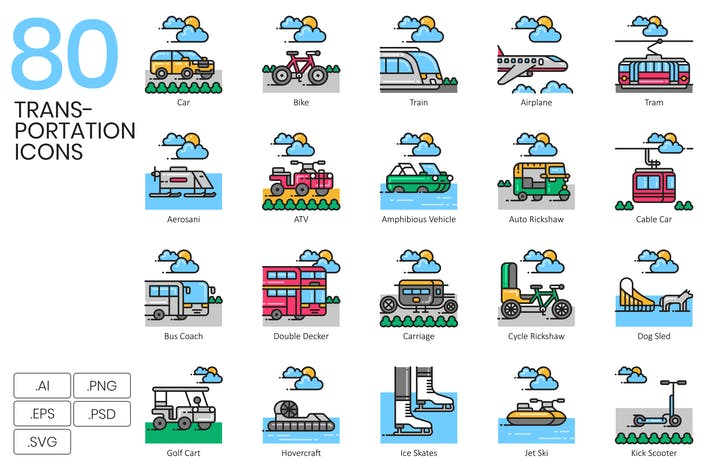 Thumbnail for 80 Transportation Icons - Aqua Series